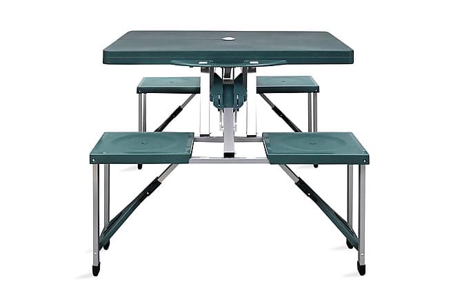 Hopfällbart campingbord med 4 stolar i aluminium ljusgrönt - Grön - Utemöbler - Utebord - Campingbord