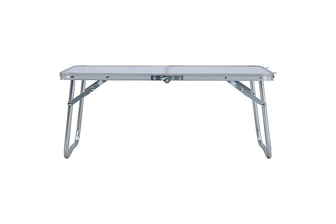 Hopfällbart campingbord vit aluminium 60x40 cm - Vit - Utemöbler - Utebord - Campingbord