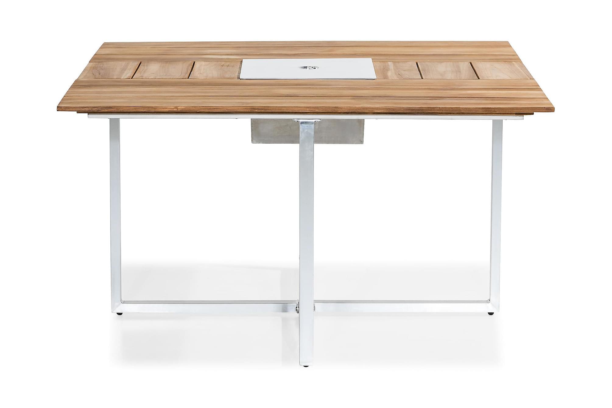 BÅSTAD Matbord 140x140 Teak/Borstad Aluminium, Balkongbord