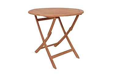 HOPFÄLLBART matbord för trädgården rund massiv teak 85x76 cm