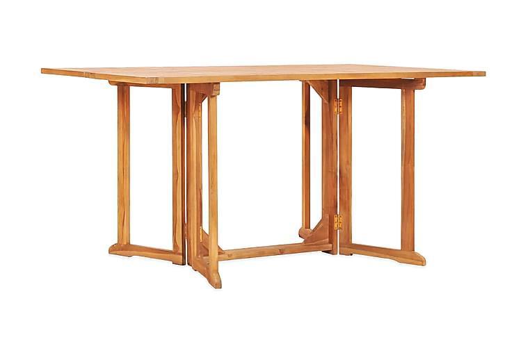 Hopfällbart trädgårdsbord 150x90x75 cm massivt teakträ - Brun - Utemöbler - Utebord - Matbord ute