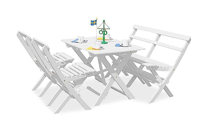 KNOHULT Bord +2 Hopvikbara Stolar + Bänk Vit - Utemöbler - Utebord - Matgrupper utomhus