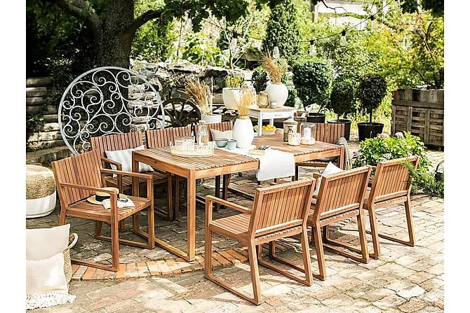 SASSARI Trädgårdsmöbelset med Bord + 8 Stolar+Sidobord - Utemöbler - Utebord - Matgrupper utomhus