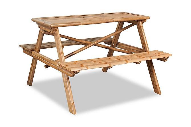 Picknickbord 120x120x78 cm bambu - Brun - Utemöbler - Utebord - Picknickbord