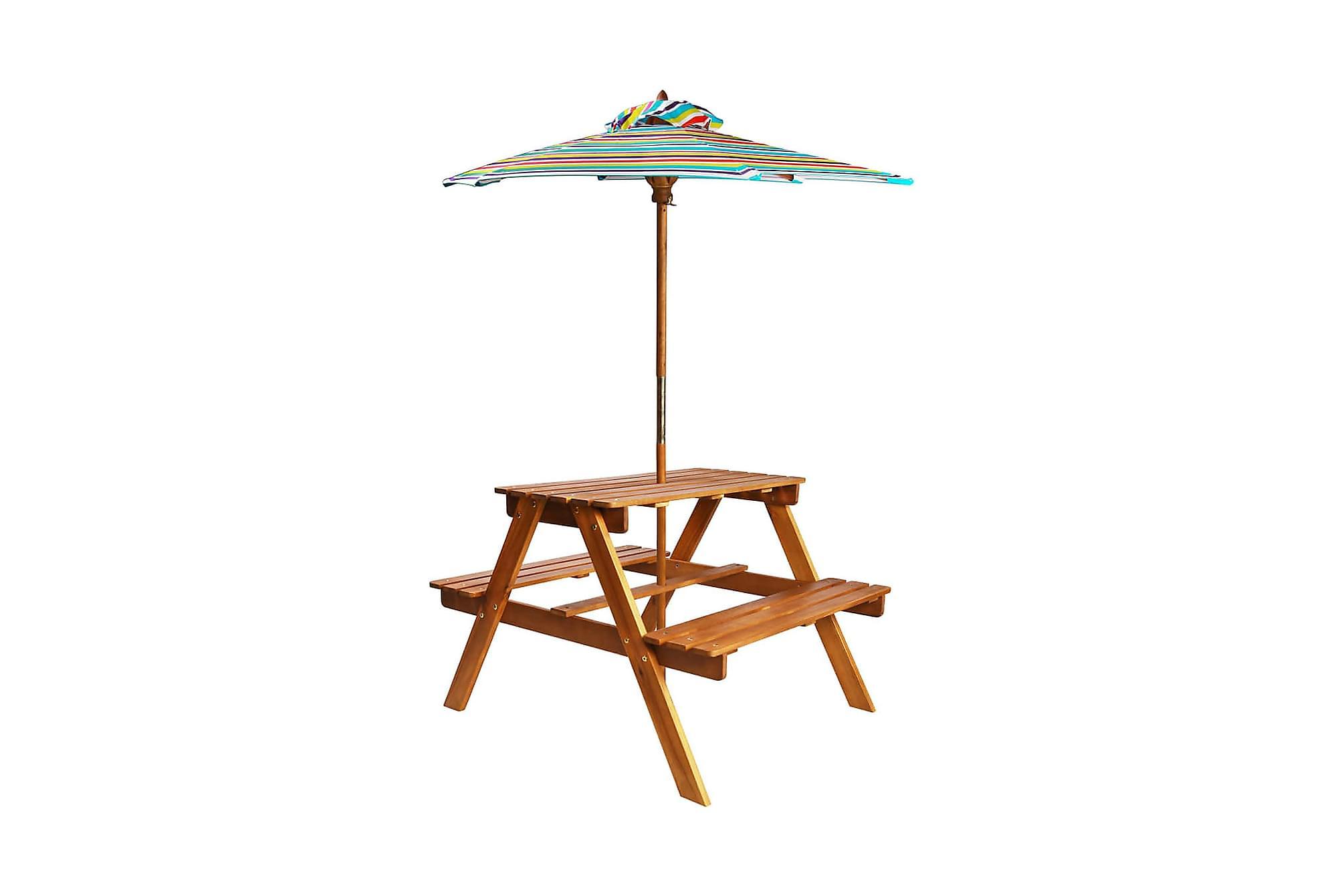 Picknickbord för barn med parasoll 79x90x60cm akaciaträ, Picknickbord