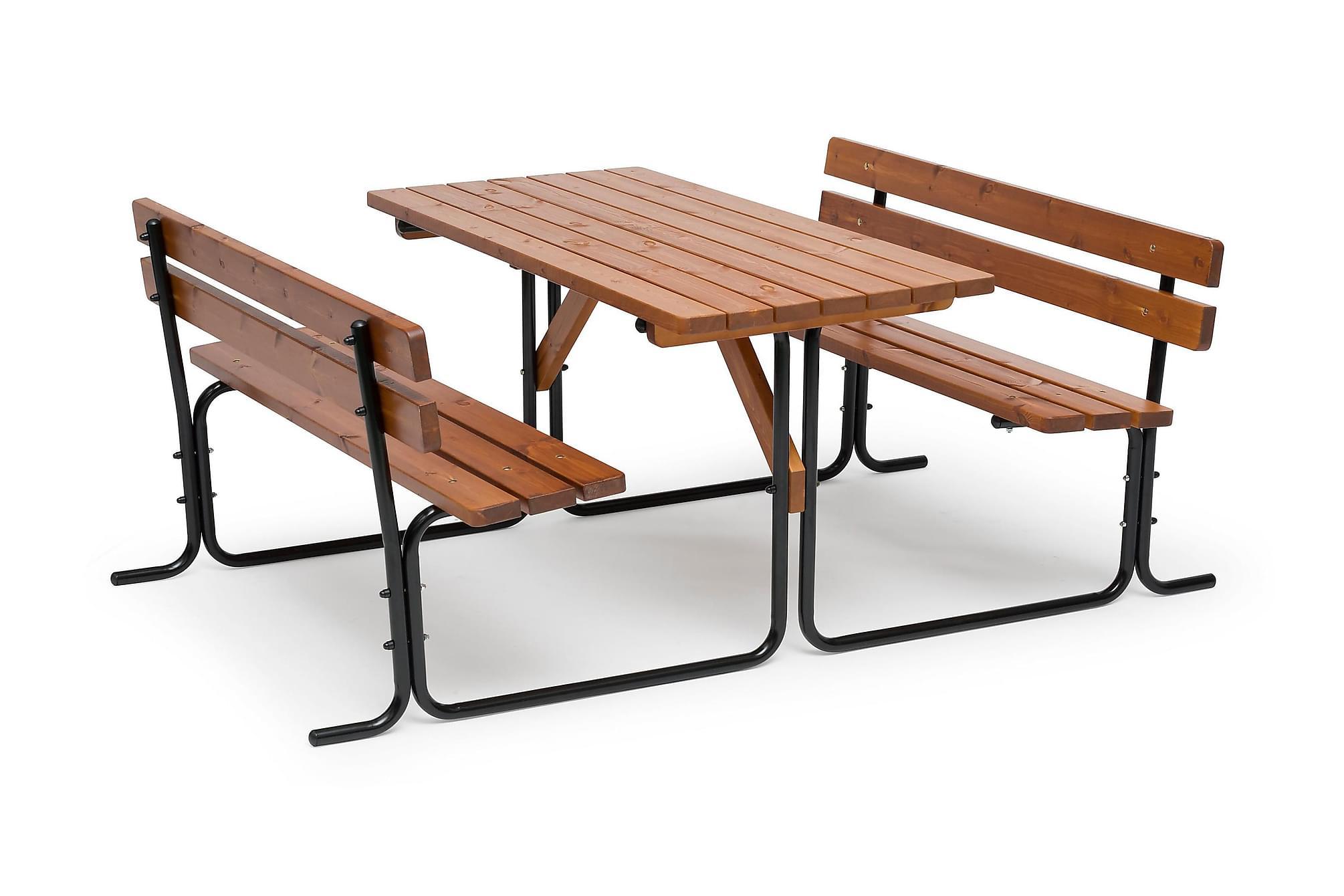 PICNIC Bord Stålrör 70x150 Brun, Picknickbord