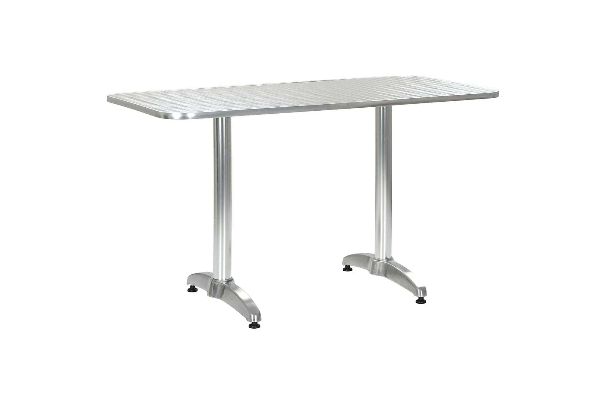 Trädgårdsbord silver 120x60x70 cm aluminium