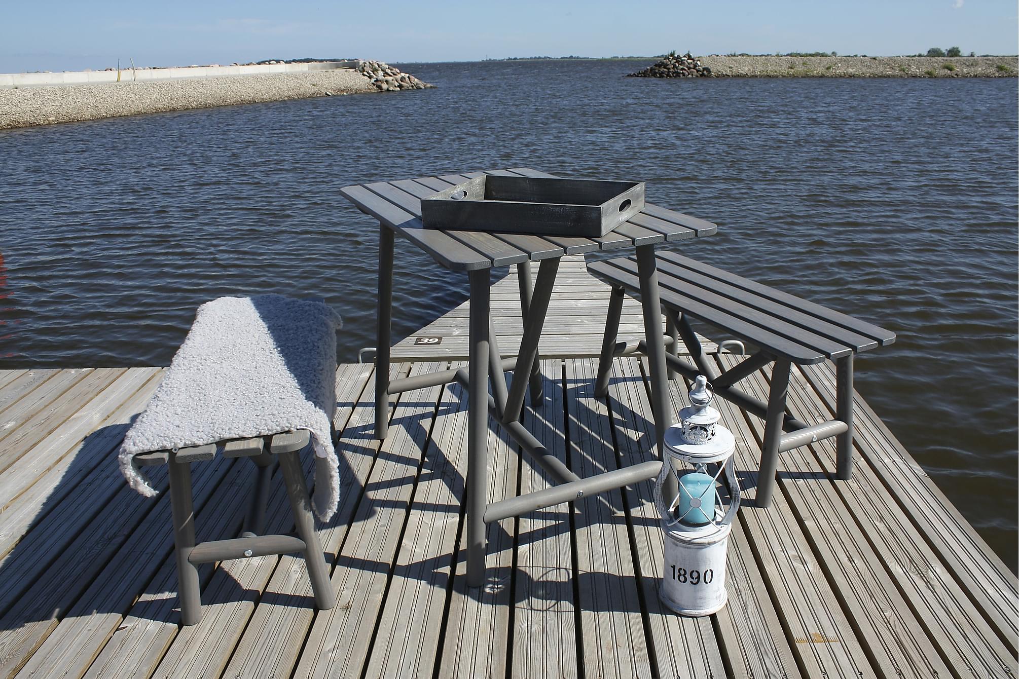 ÅLAND Bord 95 + 2 Bänkar Grå, Matgrupper utomhus
