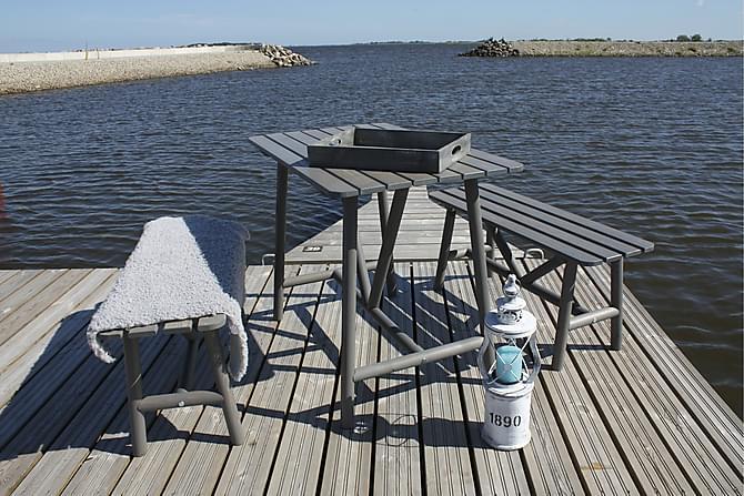 ÅLAND Bord 95 + 2 Bänkar Grå - Utemöbler - Utebord - Matgrupper utomhus