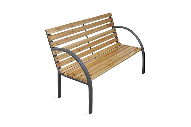 Trädgårdsbänk 120 cm trä och järn - Brun - Utemöbler - Utesoffor & bänkar - Trädgårdsbänkar
