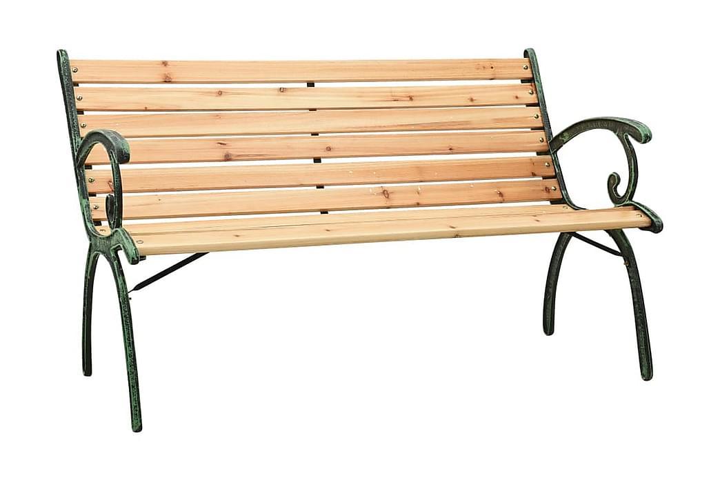 Trädgårdsbänk 123 cm gjutjärn och massivt granträ - Utemöbler - Utesoffor & bänkar - Trädgårdsbänkar