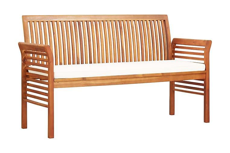 Trädgårdsbänk 3-sits med dyna 150 cm massivt akaciaträ - Brun - Utemöbler - Utesoffor & bänkar - Trädgårdsbänkar