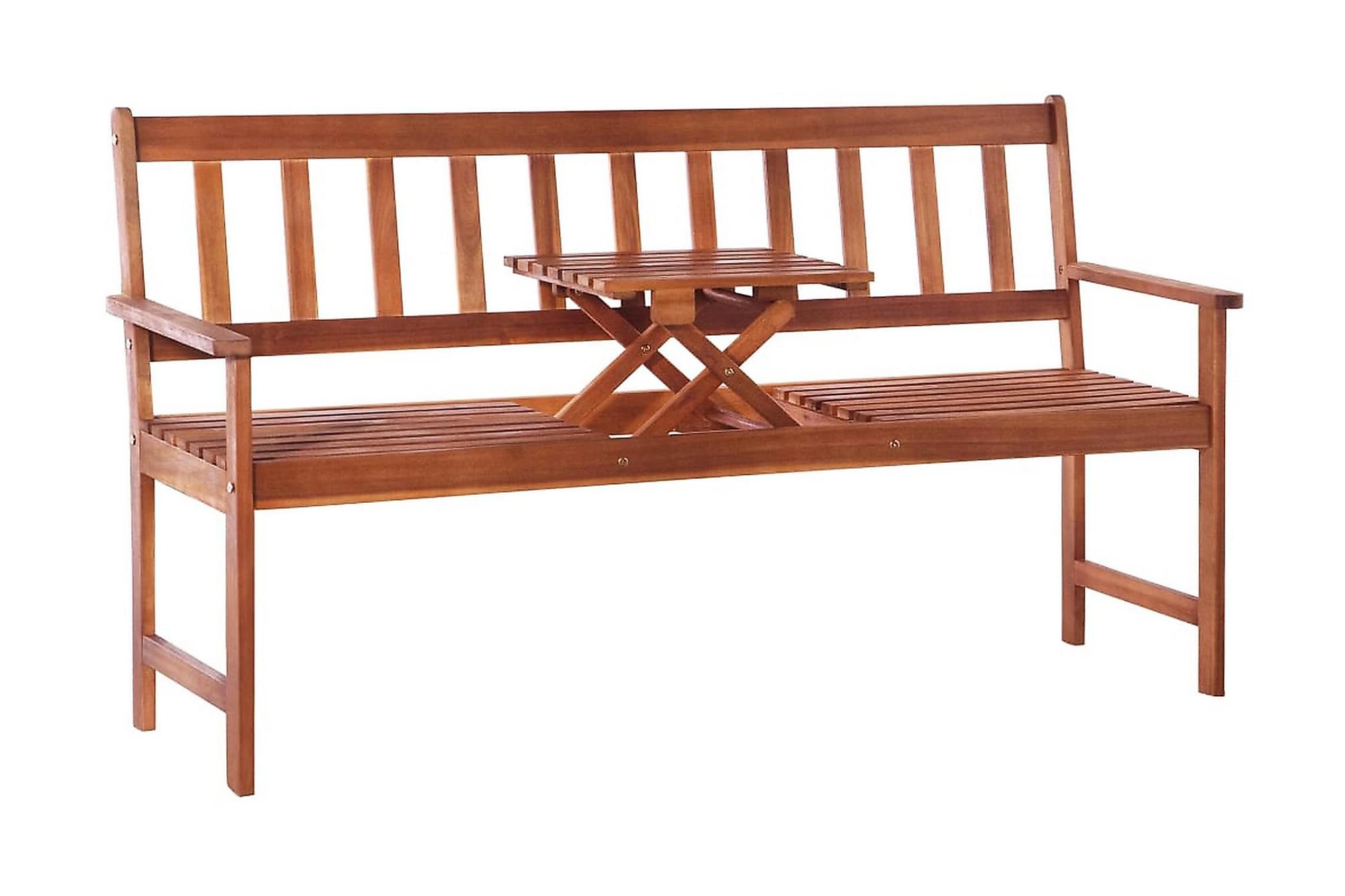 Trädgårdsbänk m. popup-bord 158 cm massivt akaciaträ brun