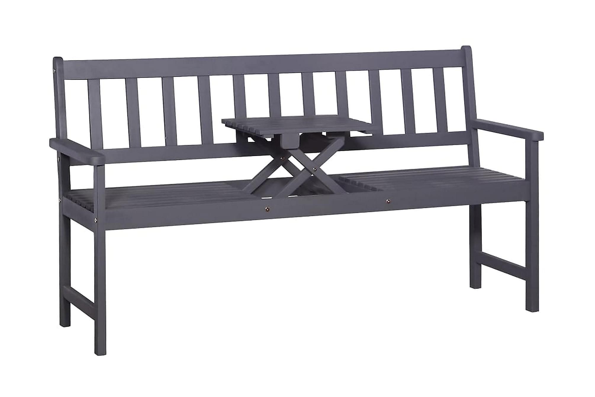 Trädgårdsbänk m. popup-bord 158 cm massivt akaciaträ grå