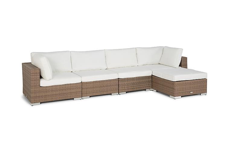 BAHAMAS Loungegrupp Medium + Divan Sand - Utemöbler - Rottingmöbler - Konstrotting-soffa
