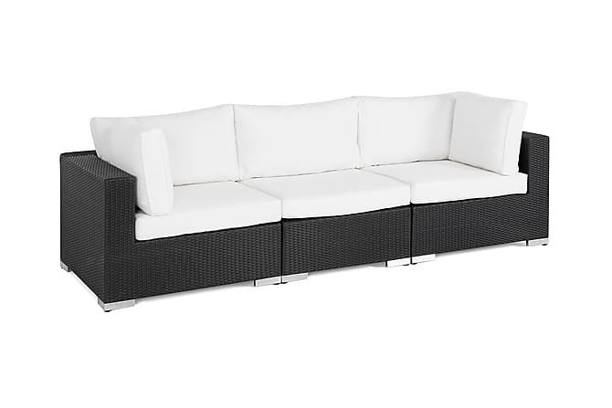 BAHAMAS Loungesoffa 3-sits Svart - Utemöbler - Utemöbelgrupper - Loungemöbler