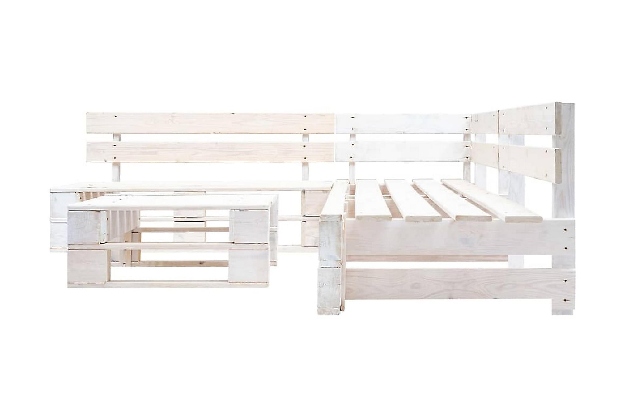 Pallsoffa 4 delar trä vit, Loungesoffa