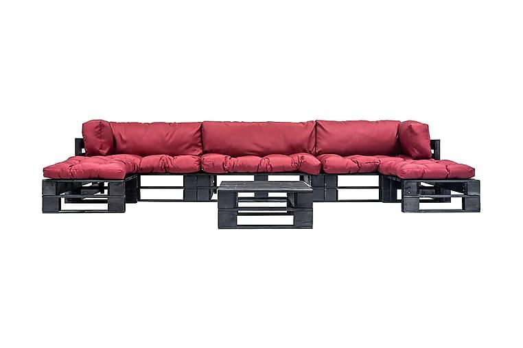 Pallsoffa 6 delar med röda dynor trä - Röd - Utemöbler - Utesoffor & bänkar - Loungesoffa