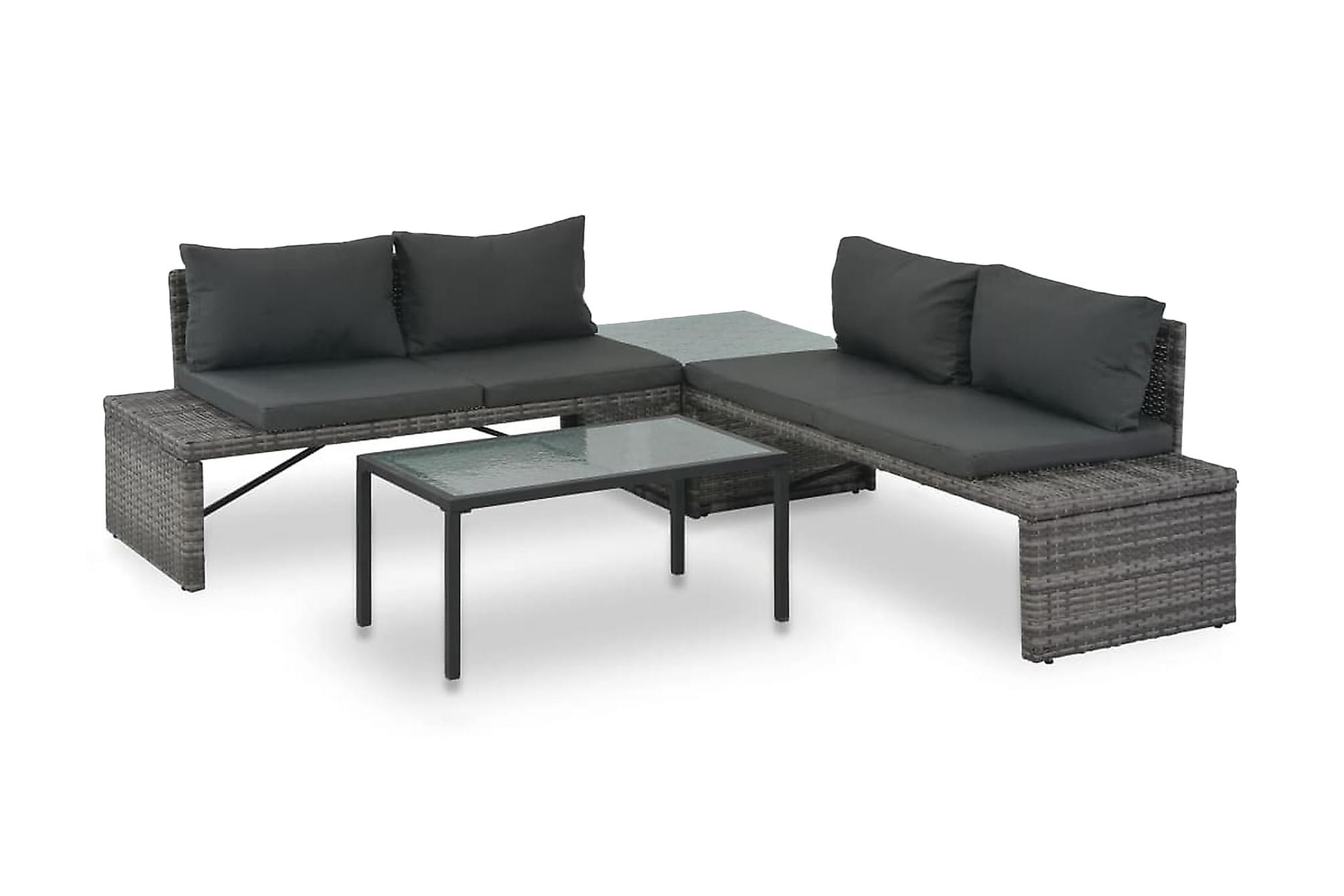 Soffgrupp för trädgården 3 delar med dynor konstrotting grå, Loungesoffa