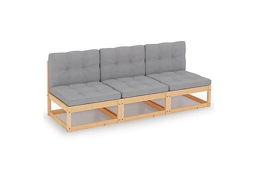 Trädgårdssoffa 3-sits med dynor massiv furu, Loungesoffa