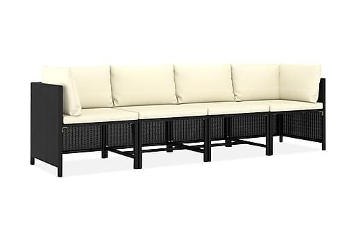 Trädgårdssoffa 4-sits med dynor svart konstrotting, Loungesoffa
