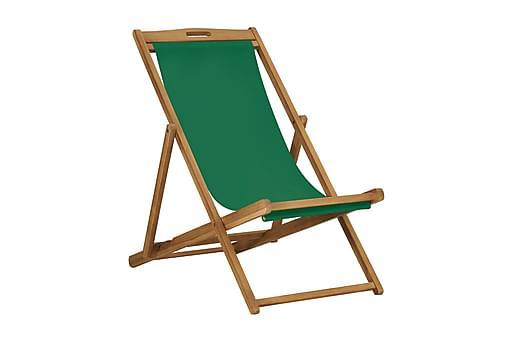 Hopfällbar strandstol massiv teak grön, Balkongstolar
