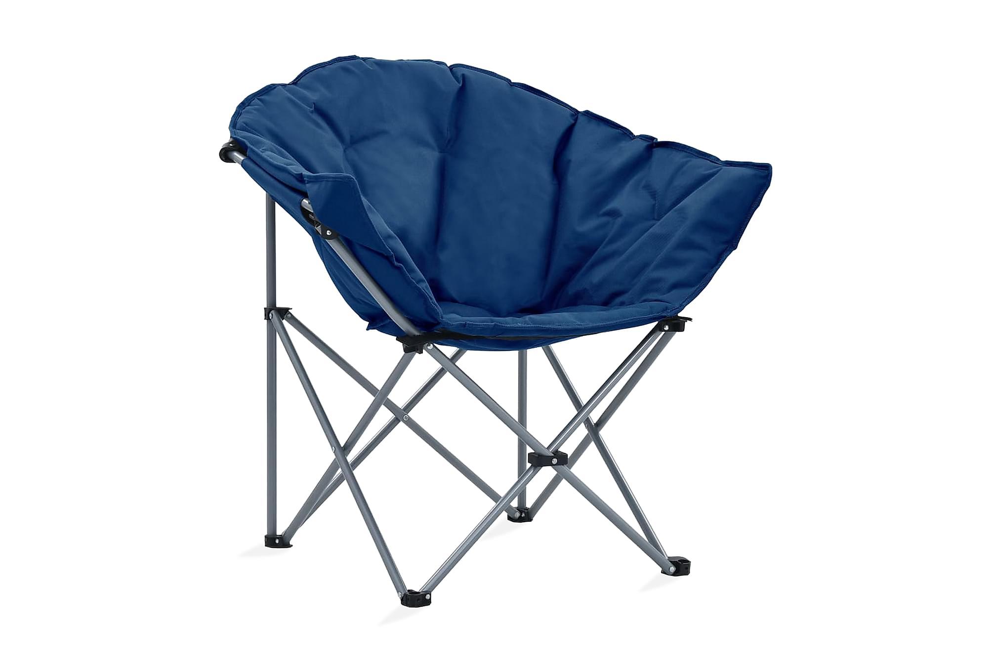 Hopfällbara månstolar 2 st blå, Campingstol