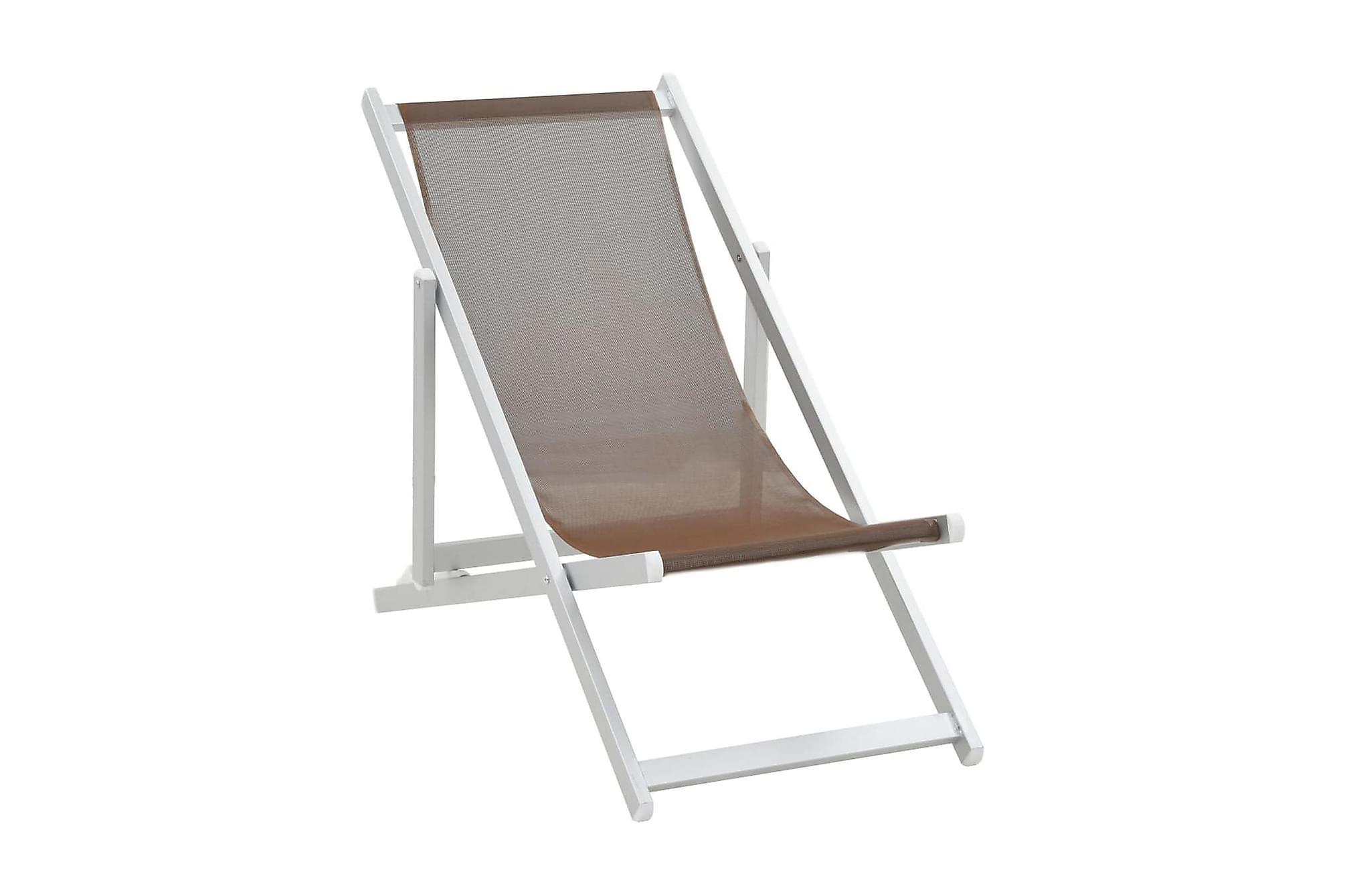 Hopfällbara strandstolar 2 st aluminium och textilen brun, Campingstol