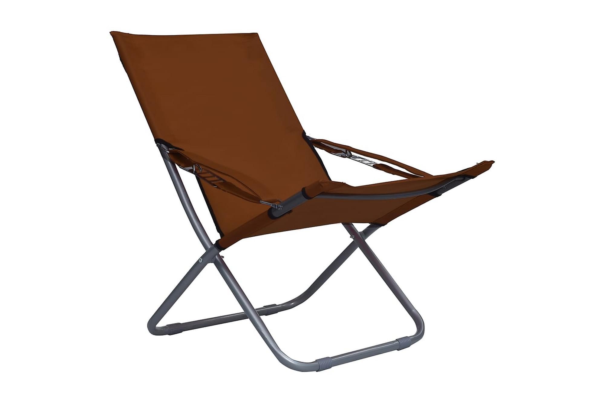 Hopfällbara strandstolar 2 st tyg brun, Campingstol