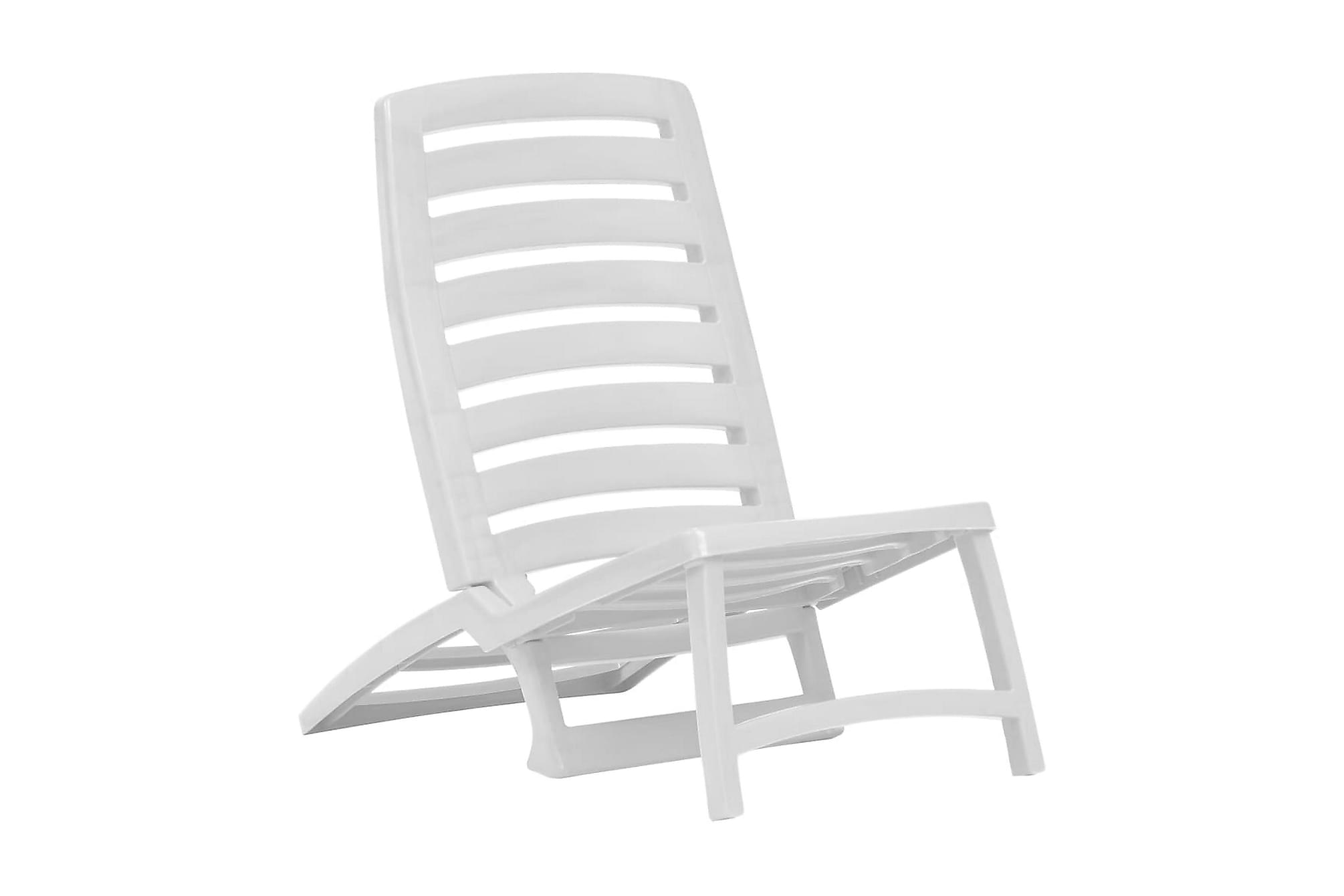 Hopfällbara strandstolar för barn 4 st plast vit, Campingstol