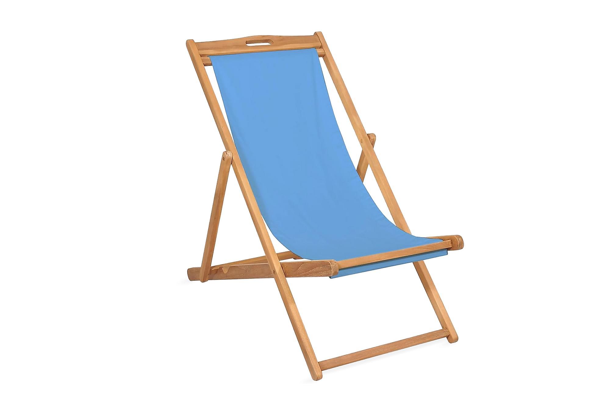 Strandstol teakträ 56x105x96 cm blå, Campingstol