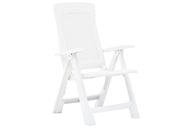 Justerbara trädgårdsstolar 2 st plast vit - Vit - Utemöbler - Utestolar - Positionsstol