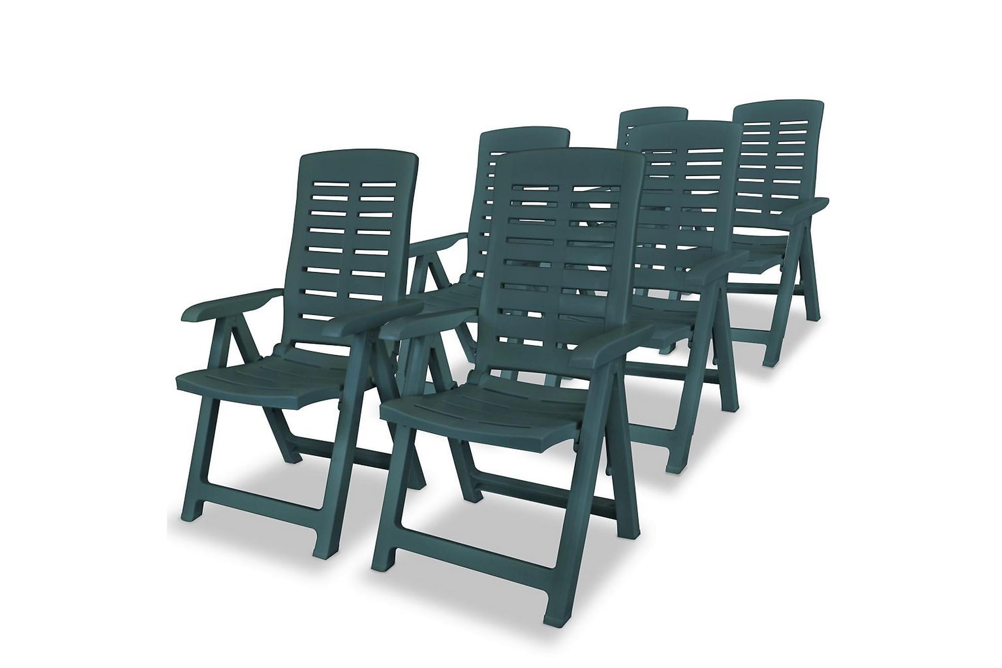 Justerbara trädgårdsstolar 6 st plast grön, Positionsstol