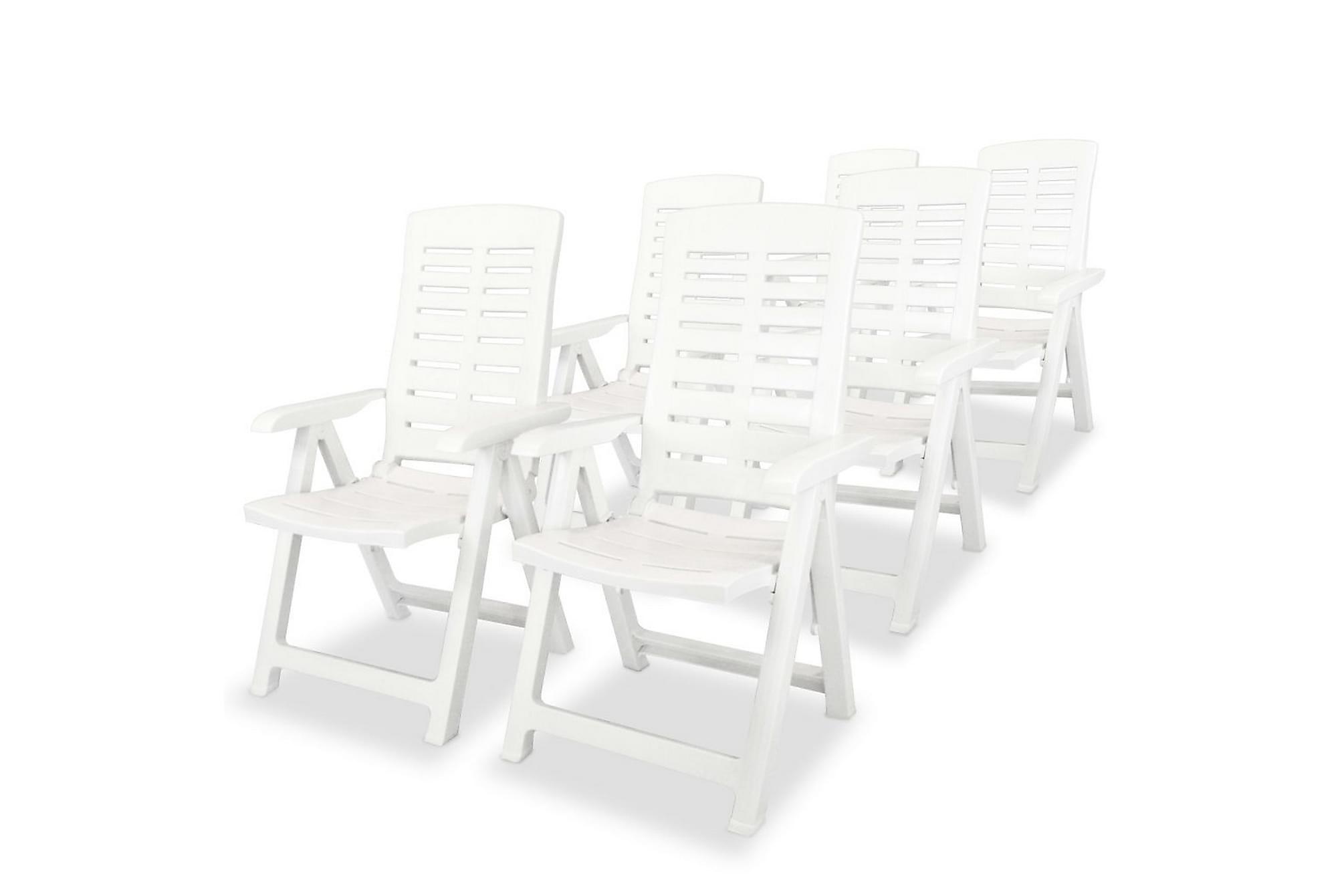 Justerbara trädgårdsstolar 6 st plast vit, Positionsstol