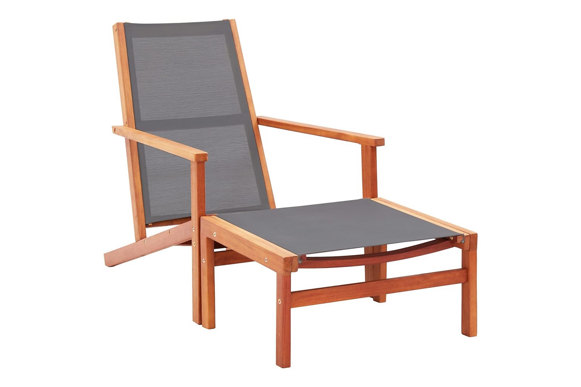 Trädgårdsstol med fotpall massivt eukalyptusträ & textilene, Positionsstol