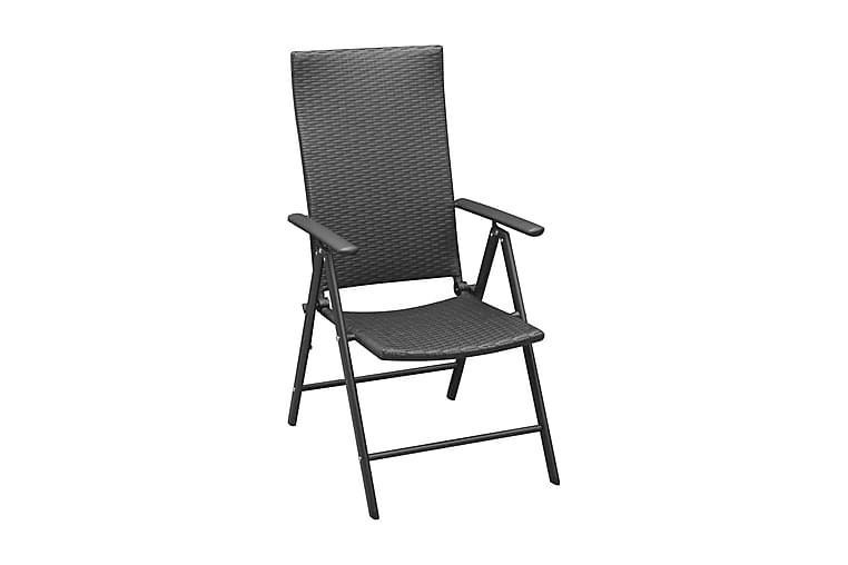 Trädgårdsstolar 4 st konstrotting svart - Svart - Utemöbler - Utestolar - Positionsstol