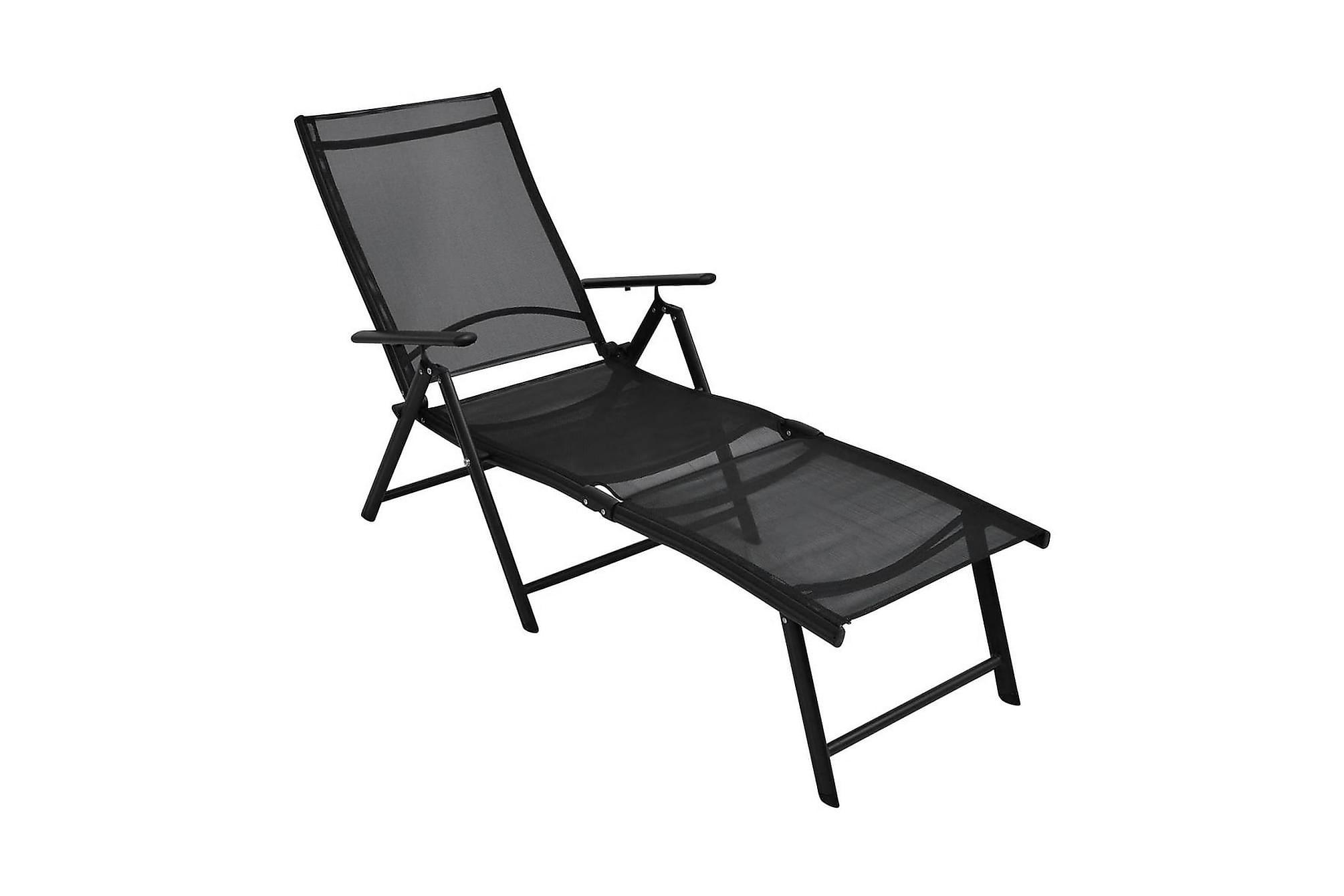 Hopfällbar solsäng aluminium svart, Solsängar & solvagnar
