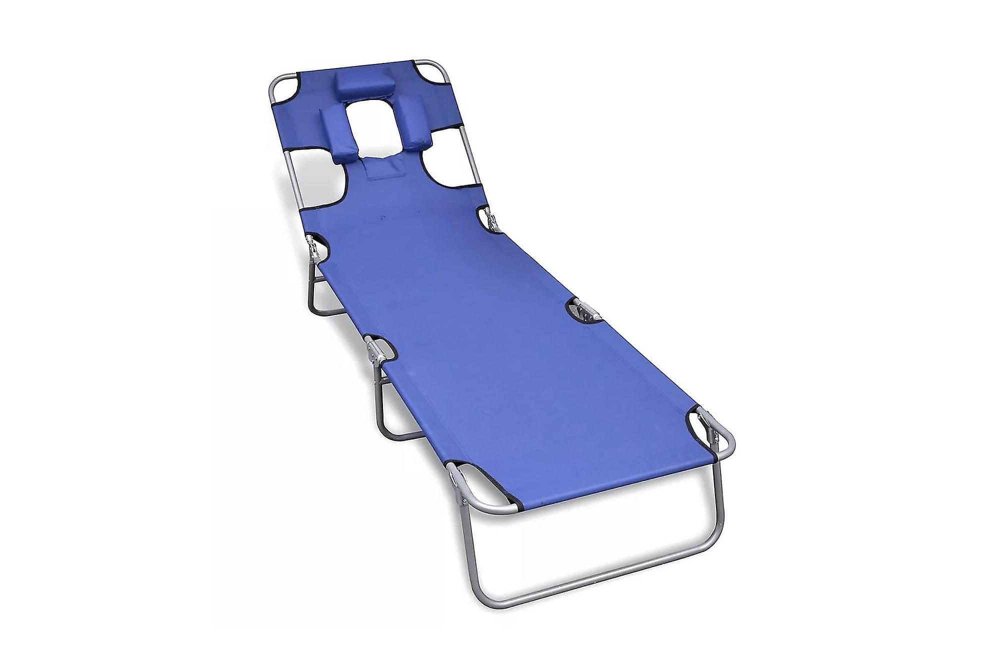 Hopfällbar solsäng med huvudkudde pulverlackerat stål blå, Solsängar & solvagnar