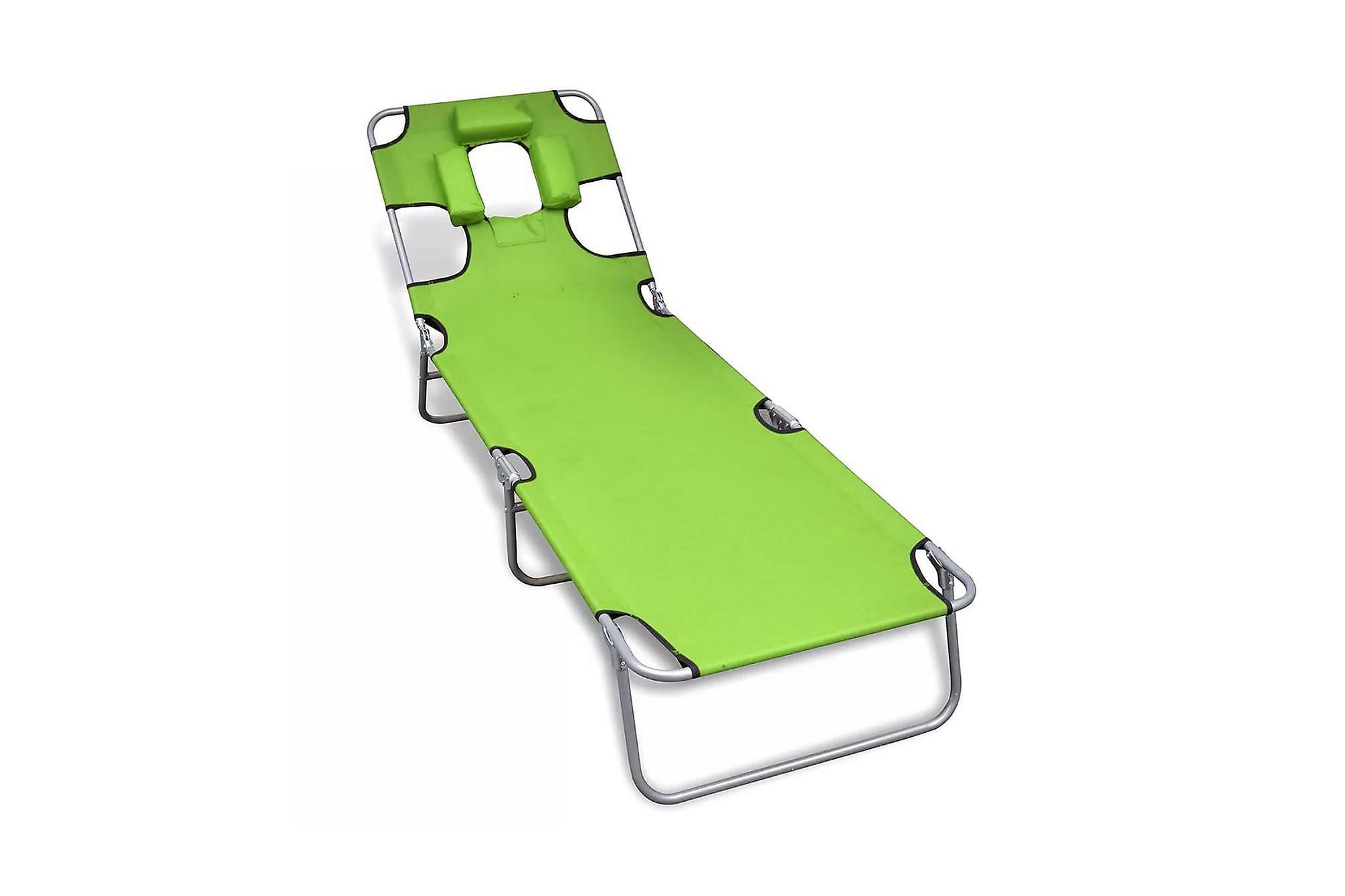 Hopfällbar solsäng med huvudkudde pulverlackerat stål grön, Solsängar & solvagnar