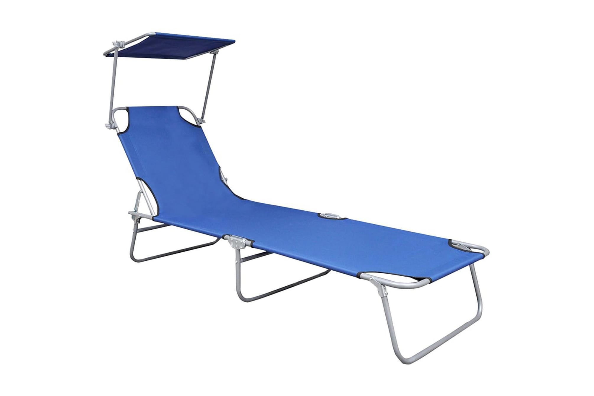Hopfällbar solsäng med tak blå aluminium, Solstol