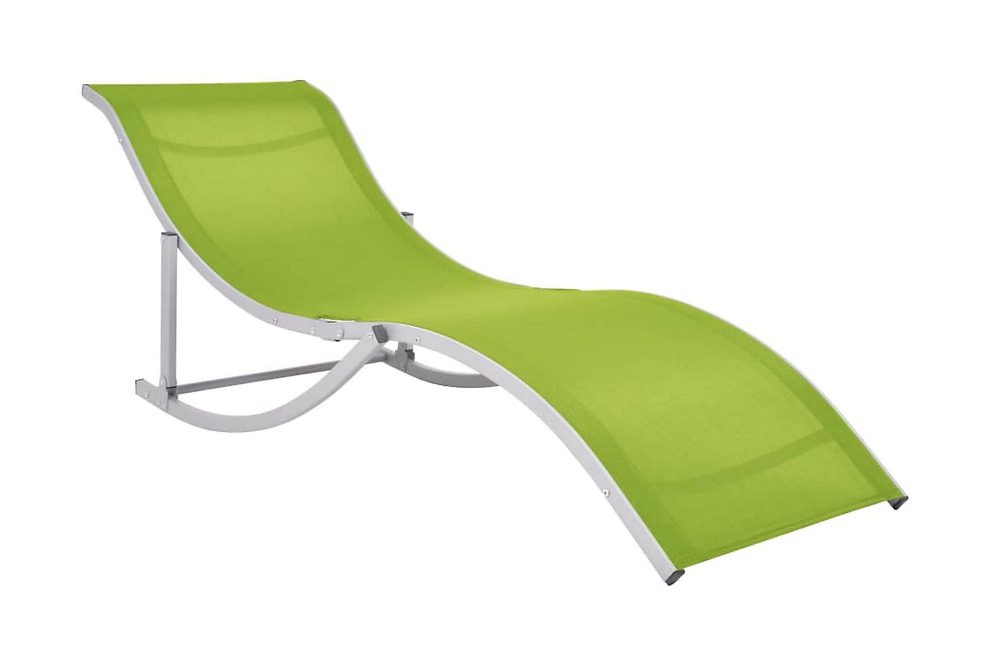 Hopfällbara solsängar 2 st grön textilene, Solsängar & solvagnar