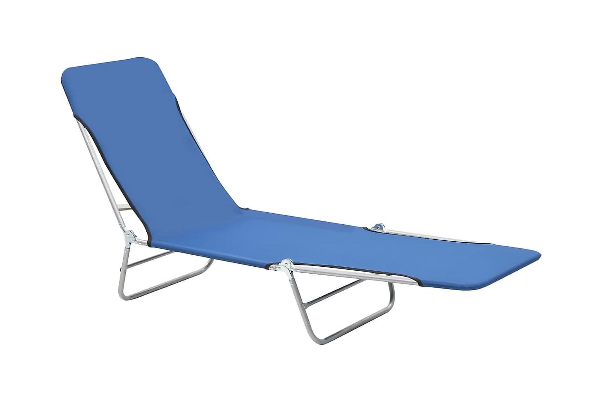 Hopfällbara solsängar 2 st stål och tyg blå, Solsängar & solvagnar