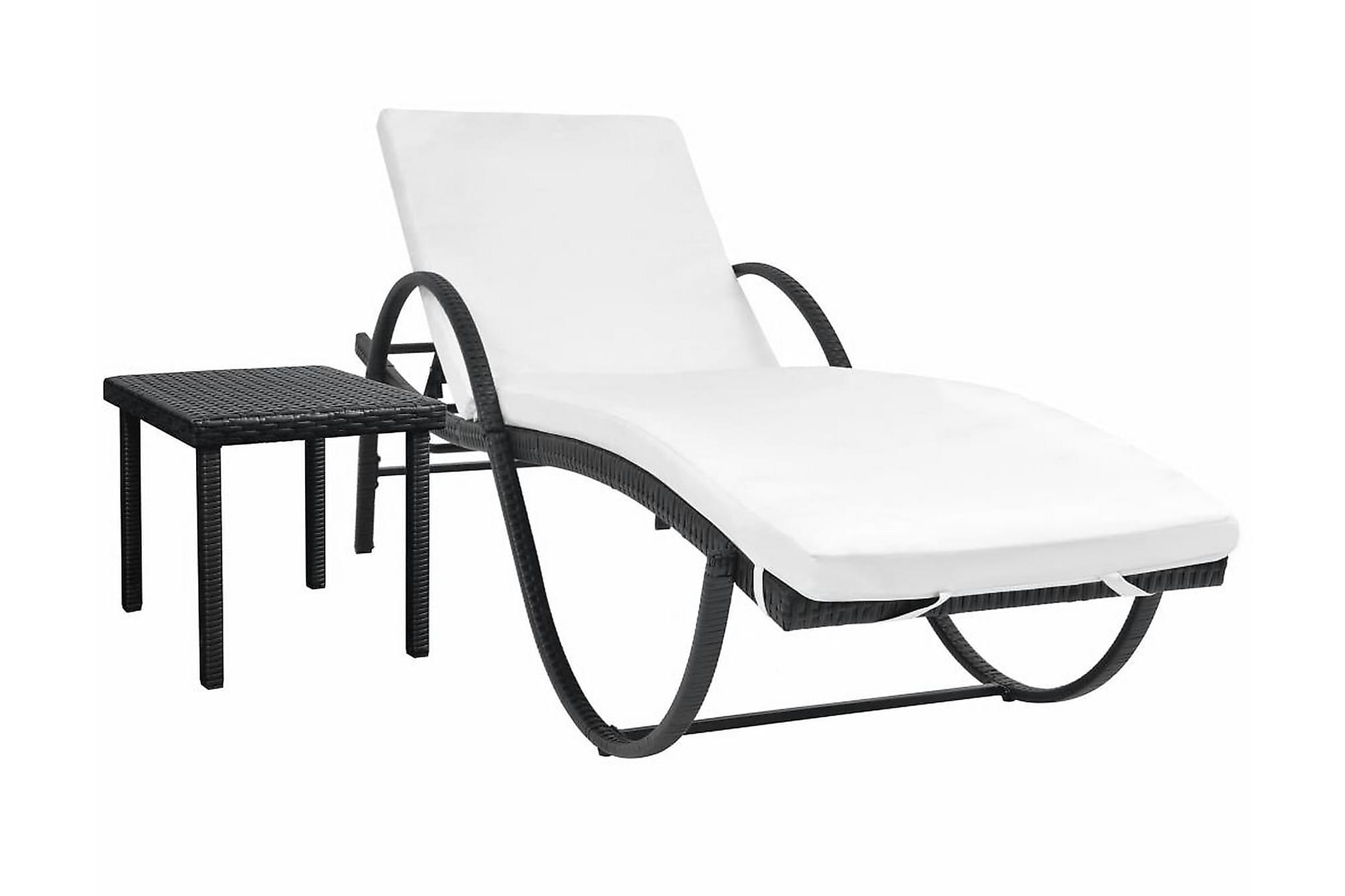 Solsäng med dyna & bord konstrotting svart