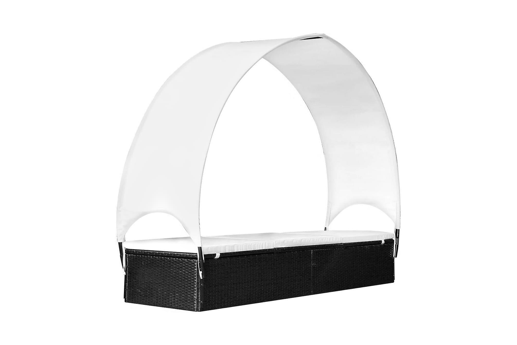 Solsäng med tak konstrotting svart