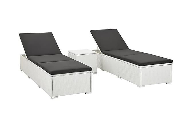 Solsängar 2 st med bord konstrotting vit - Vit|Svart - Utemöbler - Utestolar - Solsängar & solvagnar