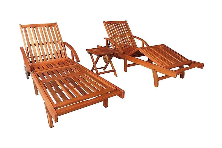 Solsängar 2 st med bord massivt akaciaträ - Brun - Utemöbler - Trämöbler - Trästolar