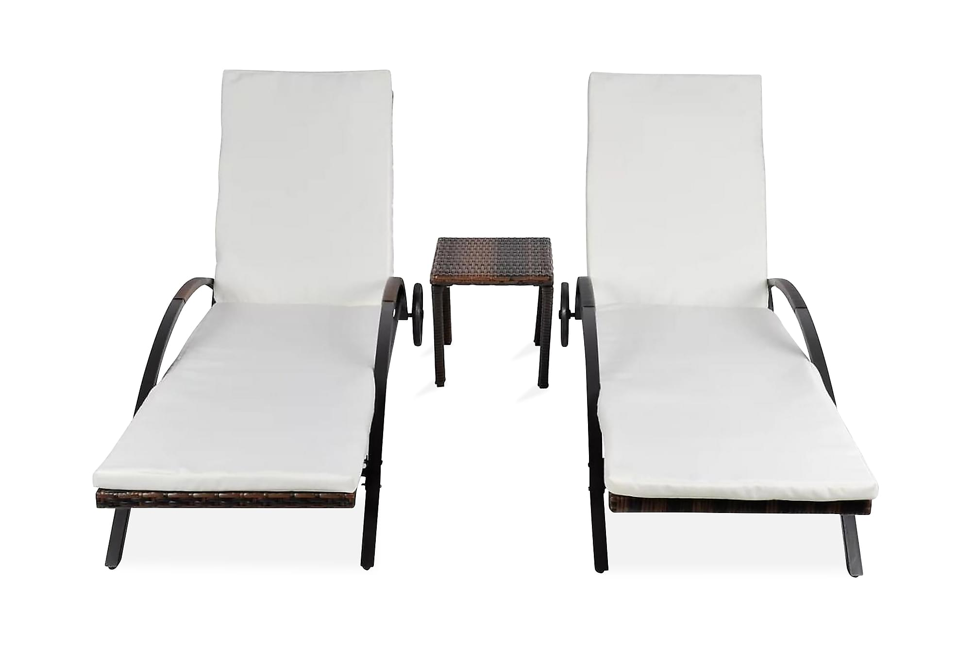 Solsängar med bord konstrotting brun