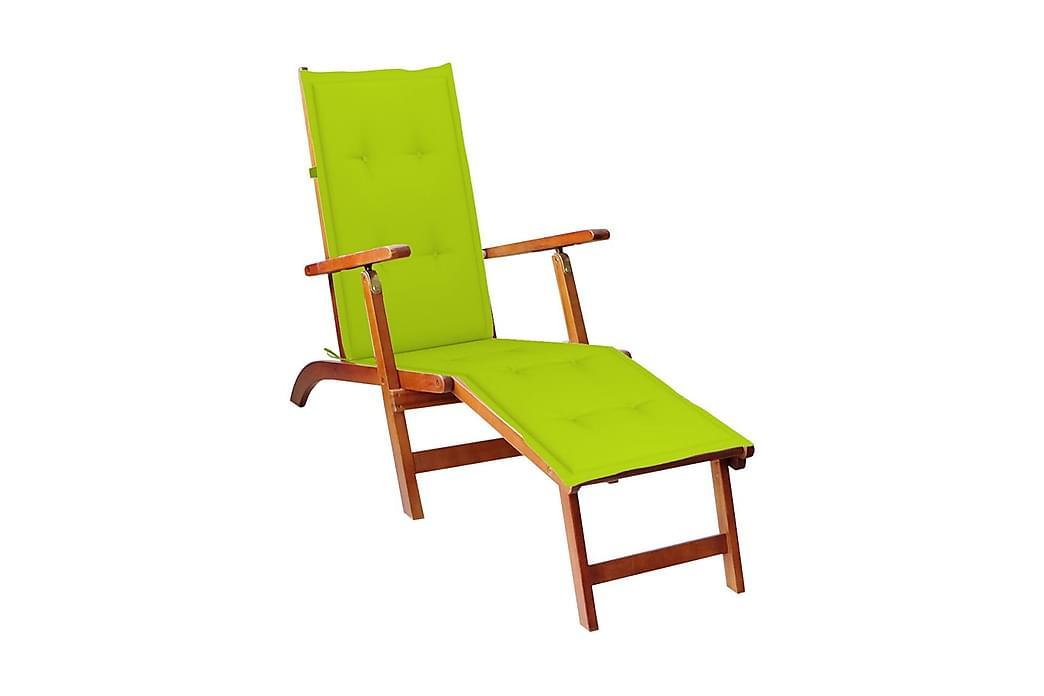 Däckstol med fotstöd och dyna massivt akaciaträ - Brun - Utemöbler - Utestolar - Däckstol