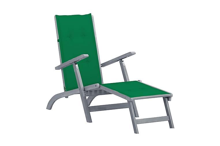 Däckstol med fotstöd och dyna massivt akaciaträ - Grå - Utemöbler - Utestolar - Däckstol