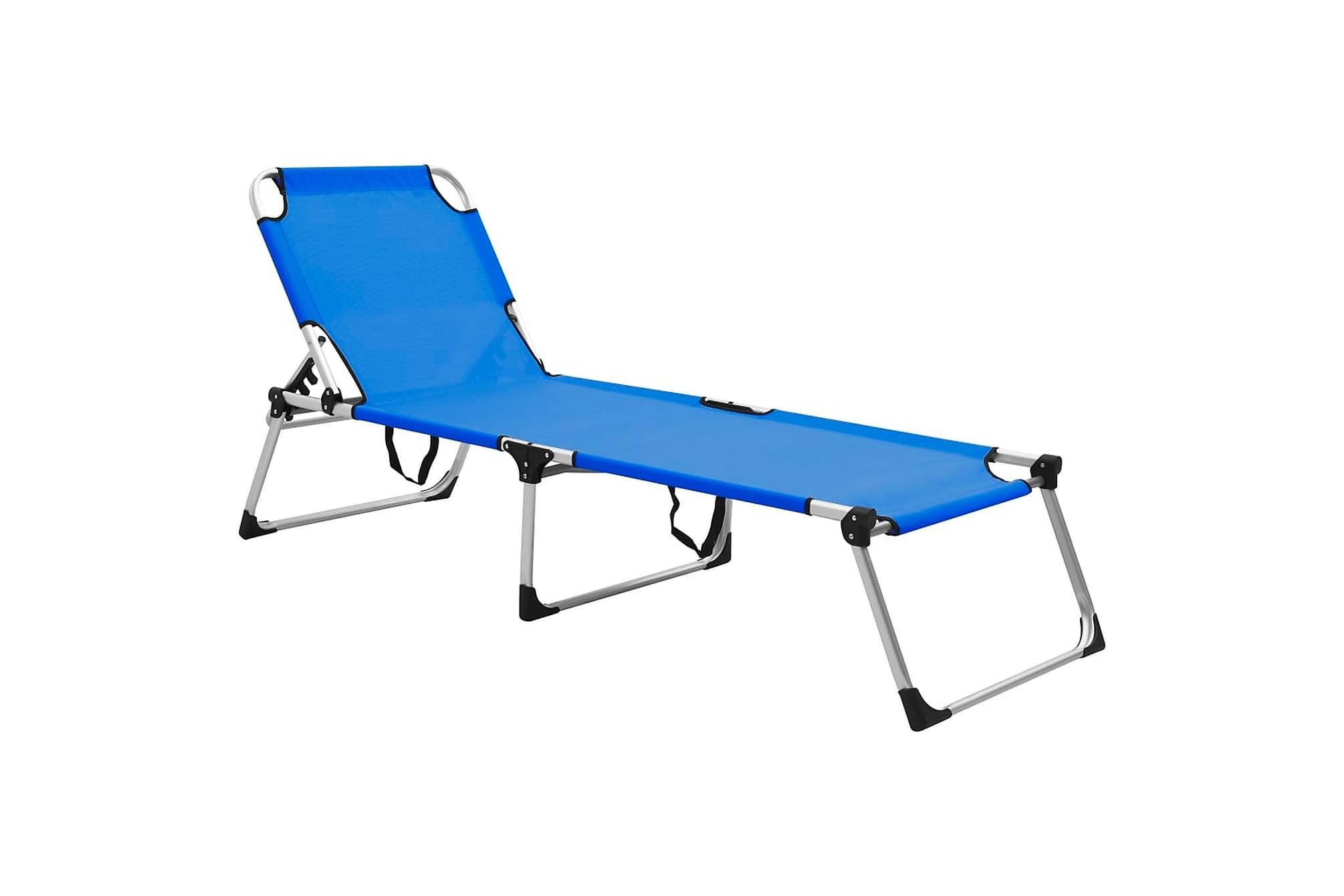 Extra hög solstol för seniorer hopfällbar blå aluminium, Solstol